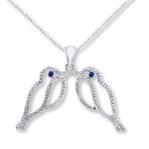 Sterling Silver (925) Diamond Bird Necklace